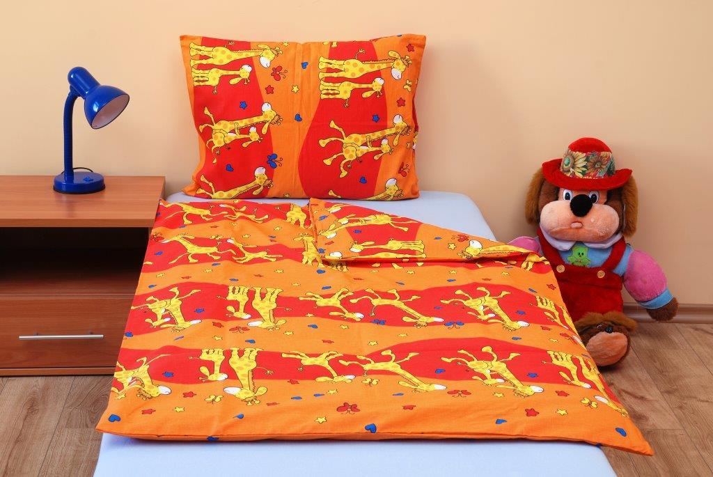 Povlečení dětské bavlna malá postýlka Žirafa oranžová, Výběr zapínání: nitěný knoflík