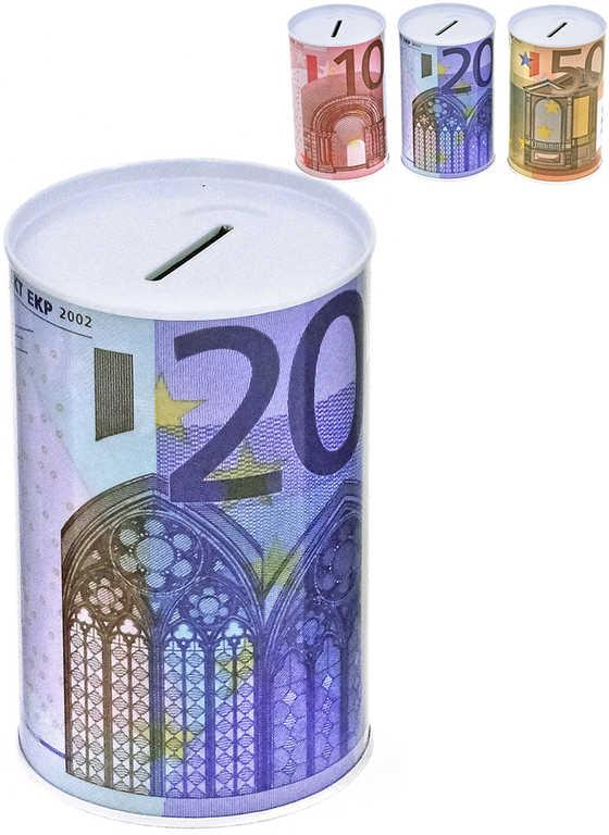 Pokladnička kovová plechovka Euro bankovka kasička různé druhy