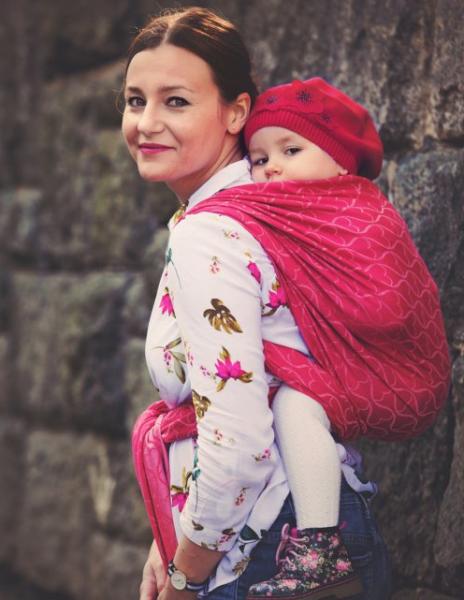 LITTLE FROG Žakárový tkaný šátek na nošení dětí - Red Hourglasses, vel. XL - XL (42)