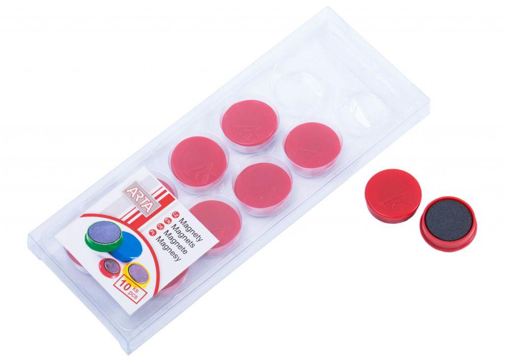 Sada ARTA magnetů průměr 25 mm - červené, 10ks