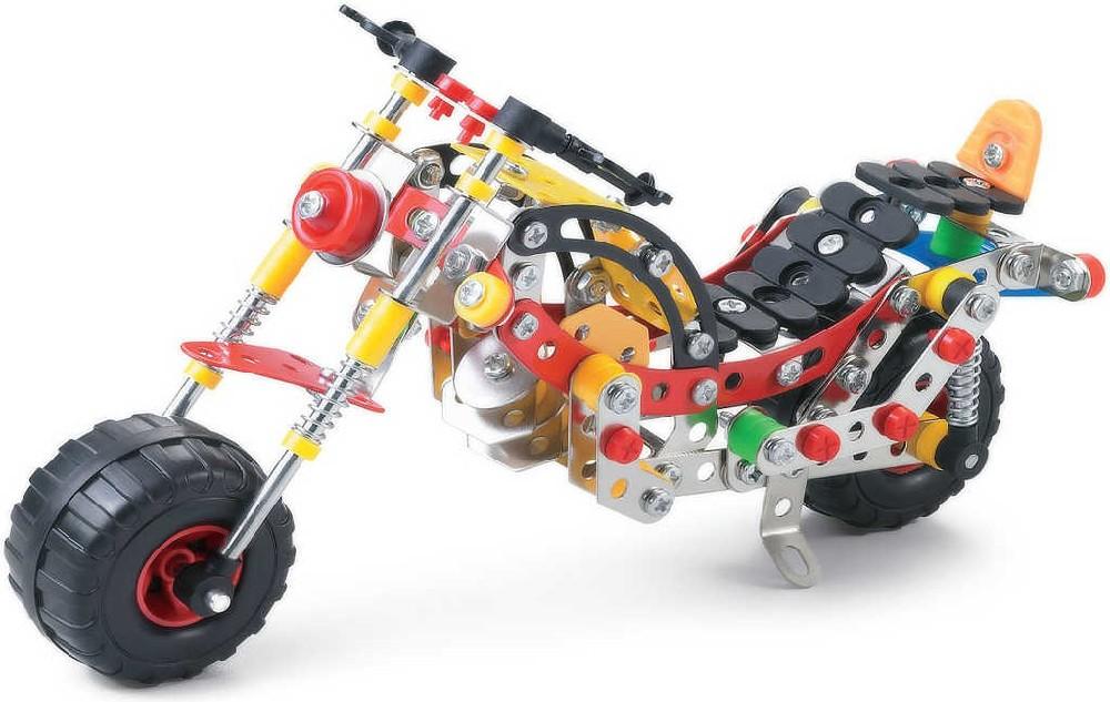 Stavebnice typu Merkur kovová Malý mechanik Motorka silniční 254 dílků