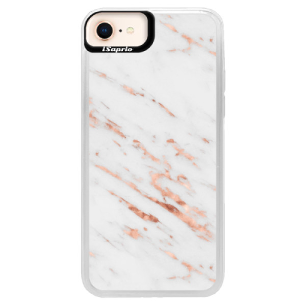 Neonové pouzdro Pink iSaprio - Rose Gold Marble - iPhone 8