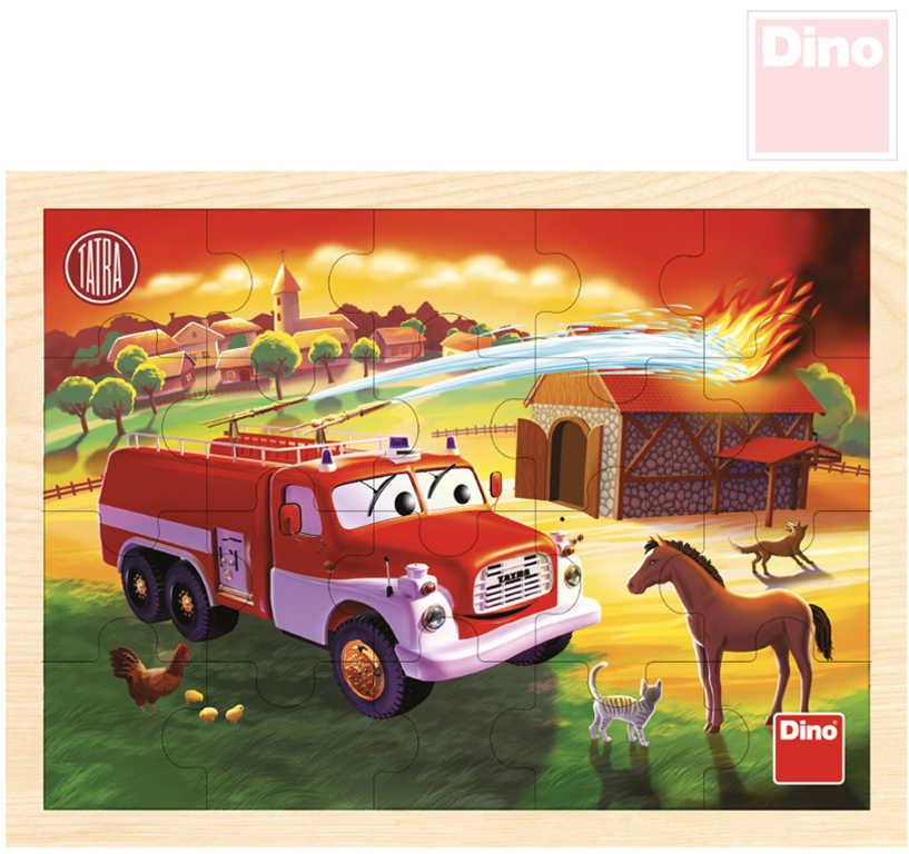 DINO DŘEVO Puzzle deskové Tatra hasiči 20 dílků skládačka v rámečku