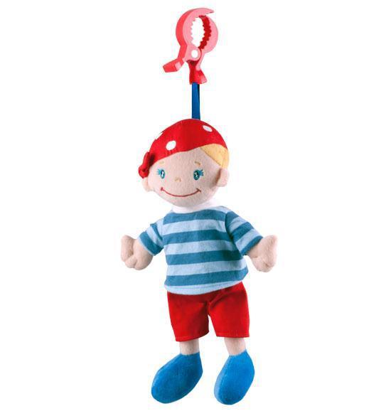 BabyOno Plyšová hračka Chlapeček (kluk) s šátkem na zavěšení hrací pro miminko