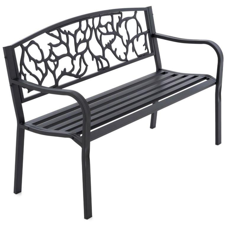 Zahradní kovová lavička ve starožitném stylu, 127 x 84 cm