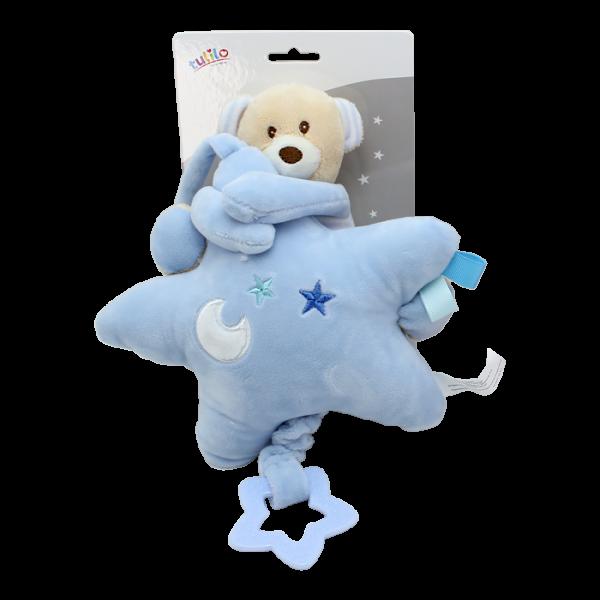 Závěsná plyšová hračka Tulilo s melodií Medvídek s hvězdou, 22 cm - modrý