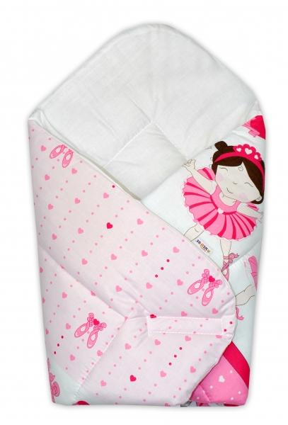 Novorozenecká zavinovačka Princess, 75x75 cm - růžová - Klasické