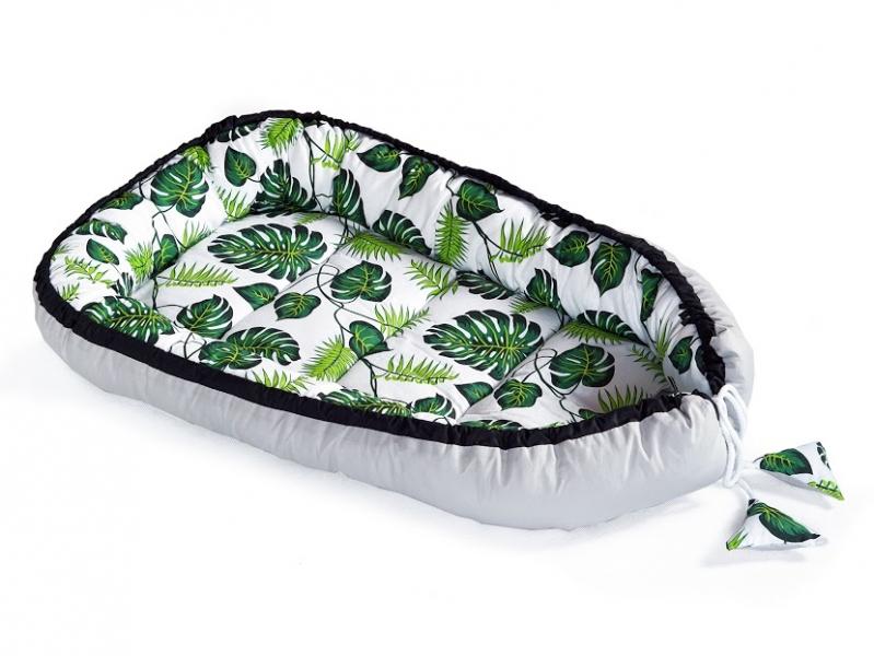 Oboustranné hnízdečko, kokon 60x90cm - Listy, šedá/bílá