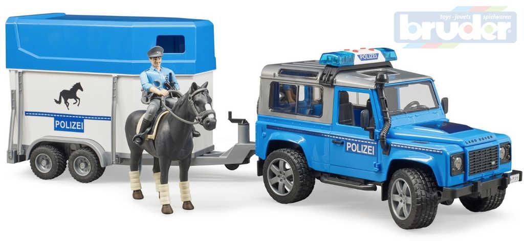 BRUDER 02588 Auto Land Rover policie s přepravníkem set s koněm a figurkou