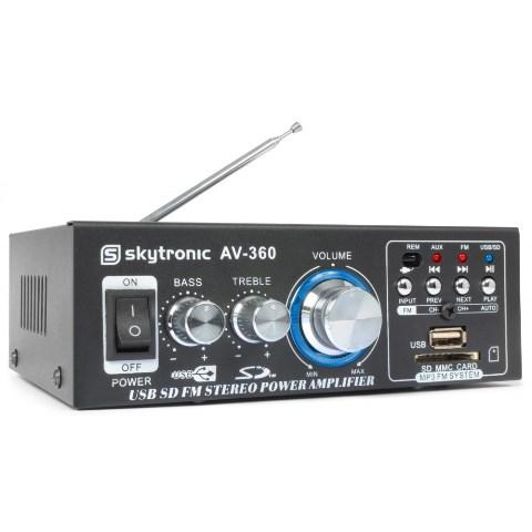 Skytronic AV360, mini zesilovač SD/USB/MP3/FM