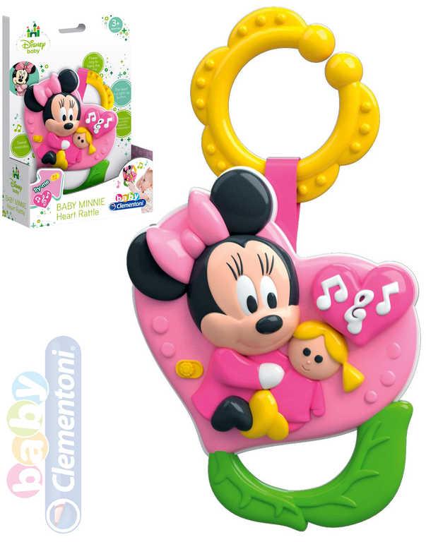 CLEMENTONI Baby chrastítko Minnie srdíčko na baterie pro miminko Zvuk