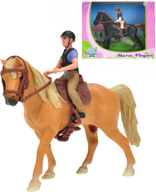 Koník plastový set s jezdcem 2 barvy v krabičce plast