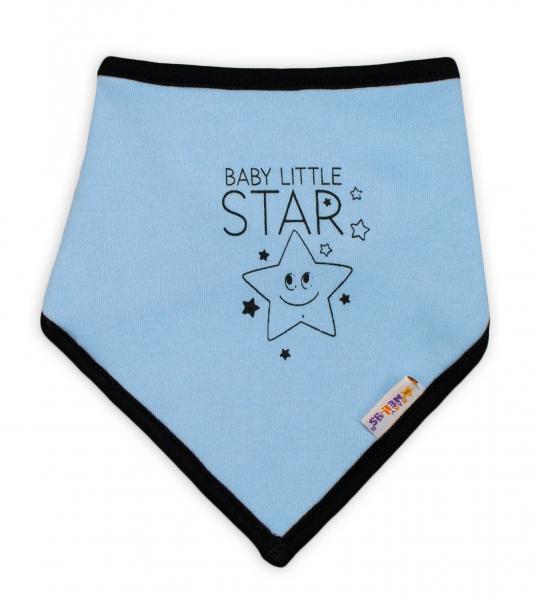 Dětský bavlněný šátek na krk Baby Nellys, Baby Little Star - modrý