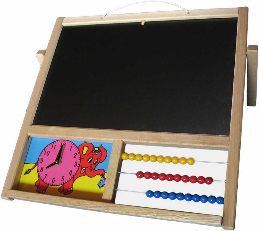 DŘEVO Tabule dětská závěsná/stolní na křídy i fixy s počitadlem a hodinami naučná