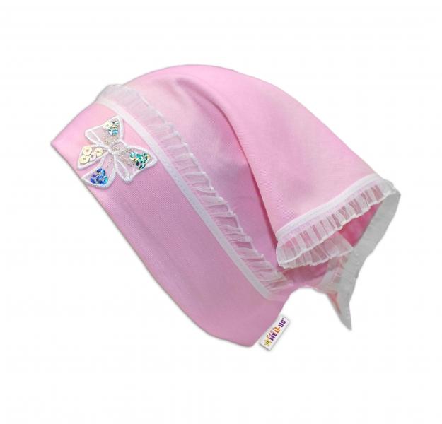 Baby Nellys Letní, jarní šátek s mašličkou a volánkem - sv. růžová - univerzální