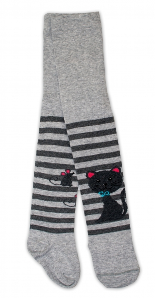 Bavlněné punčocháče - Cat šedé