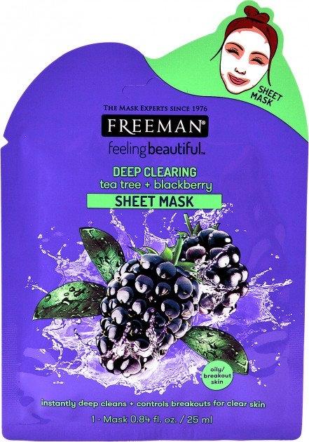 Hloubkově čisticí látková maska s tea tree a ostružinami 25 ml