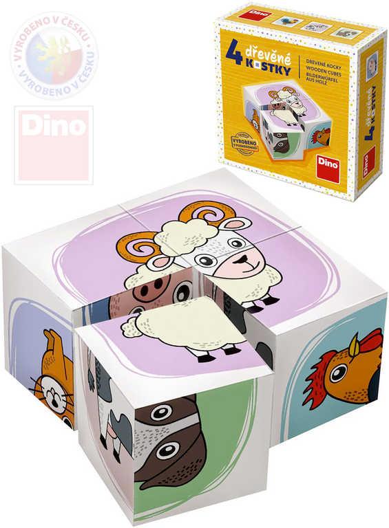 DINO DŘEVO Baby kubus set 4ks Zvířátka obrázkové kostky pro miminko
