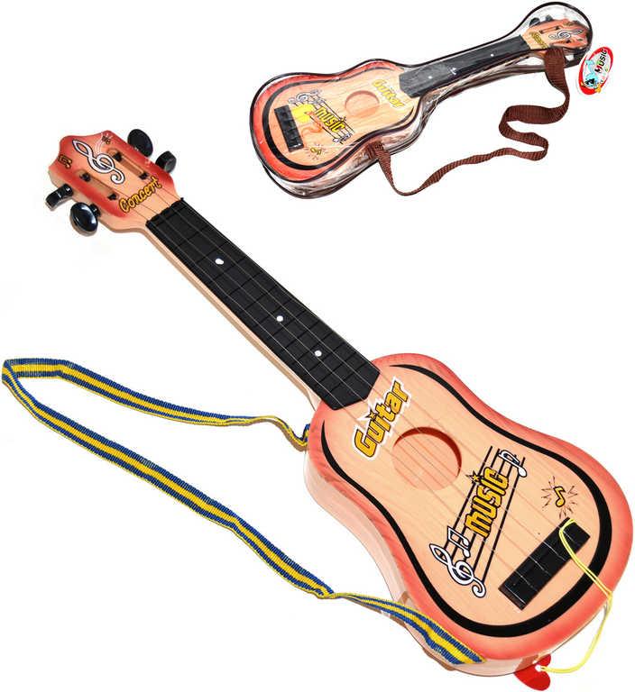 Kytara dětská set s trsátkem 50cm s popruhem 4 struny *HUDEBNÍ NÁSTROJE*