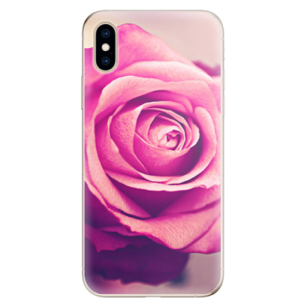 Odolné silikonové pouzdro iSaprio - Pink Rose - iPhone XS