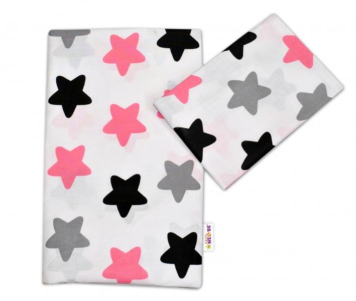 Bavlněné povlečení - Barevné hvězdičky - růžové - 120x90