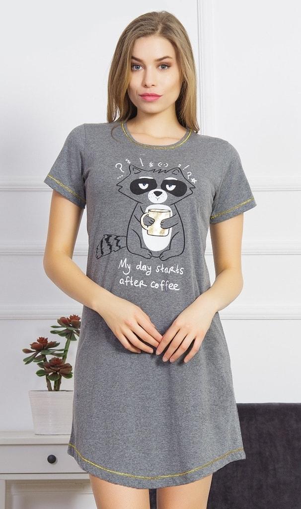 Dámská noční košile s krátkým rukávem Mýval s kávou - šedá - XXL