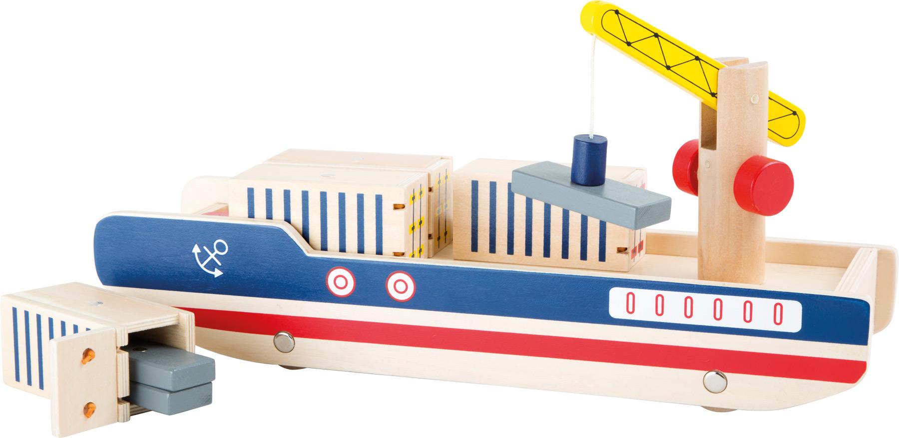 Small Foot Dřevěná kontejnerová loď s jeřábem