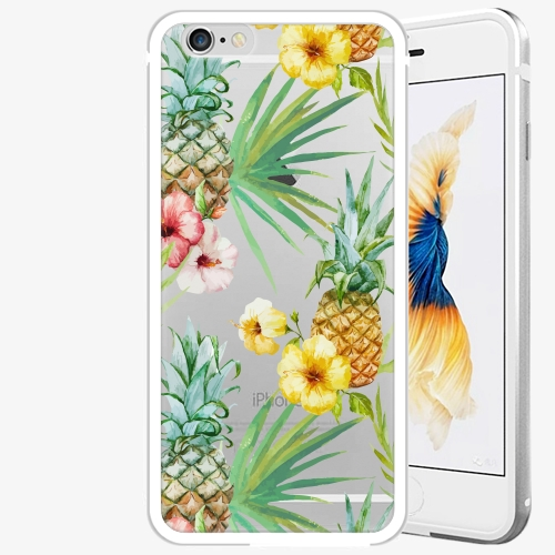 Plastový kryt iSaprio - Pineapple Pattern 02 - iPhone 6/6S - Silver