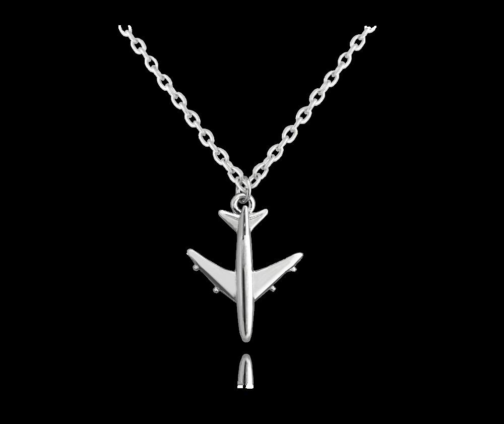 Cestovatelský stříbrný náhrdelník MINET LETADLO