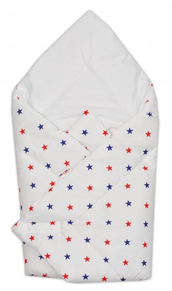 Novorozenecká zavinovačka Baby Nellys ®- granátovo/červené hvězdičky na bílém podkladu - K