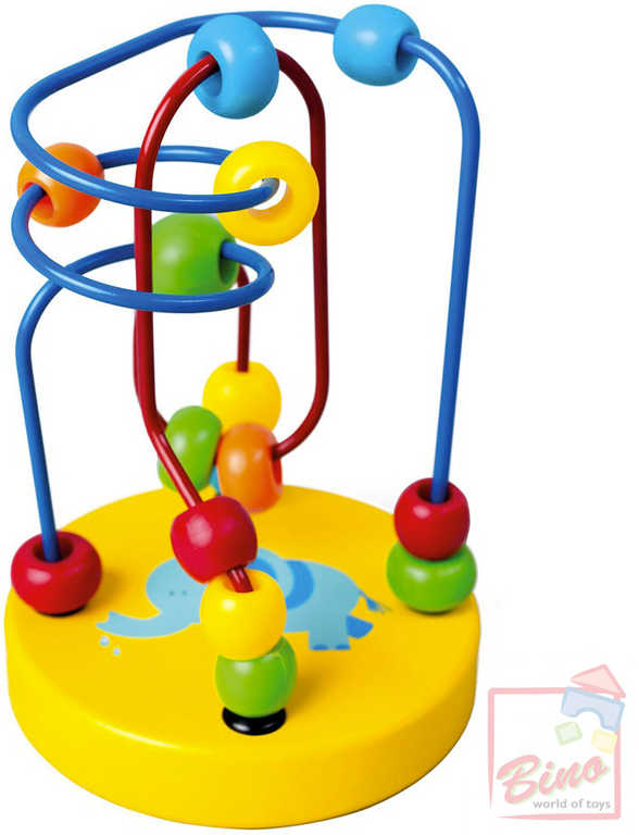 BINO DŘEVO Baby labyrint motorický s korálky žlutý