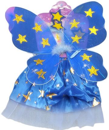 KARNEVAL Šaty modré princezna s křídly hvězdičky *KARNEVALOVÝ KOSTÝM*
