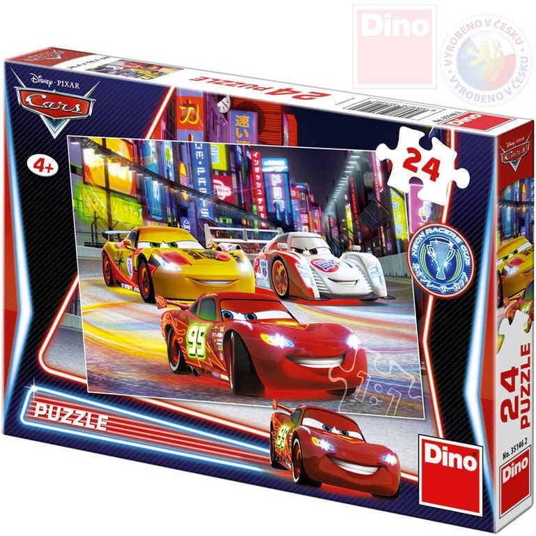 DINO Puzzle 24 dílků Noční závod Cars (Auta) 26x18cm skládačka v krabici