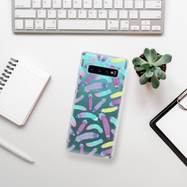 Odolné silikonové pouzdro iSaprio - Feather Pattern 01 - Samsung Galaxy S10