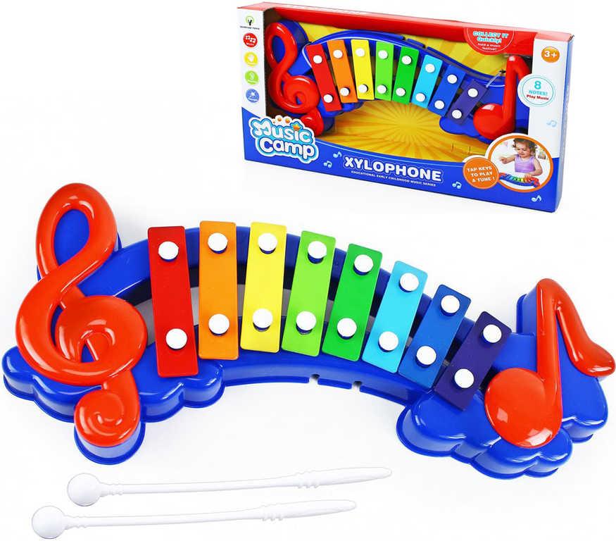 Xylofon dětský velký set se 2 paličkami v krabici plast HUDEBNÍ NÁSTROJE