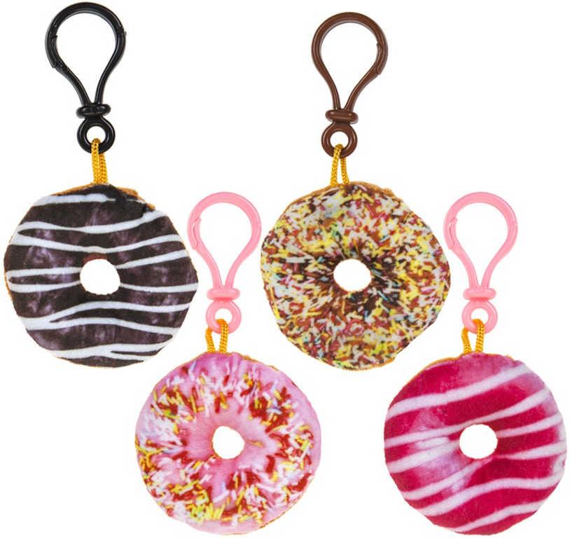 PLYŠ Donut s klipem 8cm klíčenka různé druhy *PLYŠOVÉ HRAČKY*