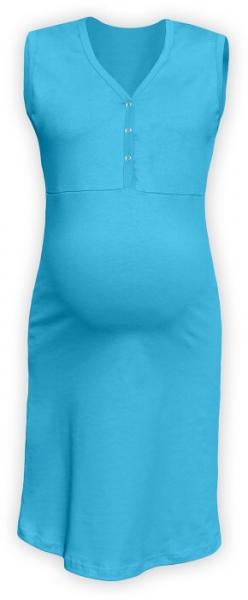 Těhotenská, kojící noční košile PAVLA bez rukávu - tyrkys