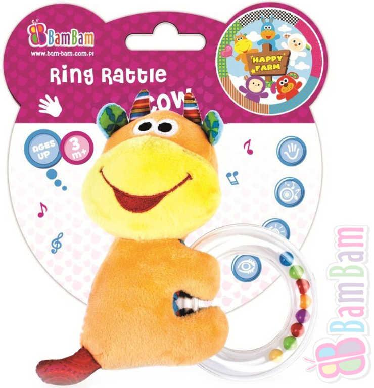 ET BAM BAM Baby chrastítko kravička kroužek s kuličkami pro miminko