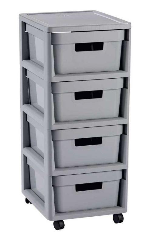 Regál se šuplíky 4x11L INFINITY - šedý
