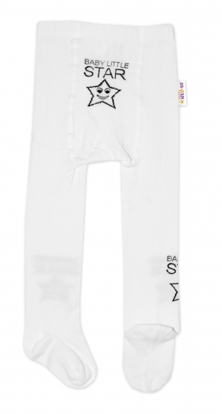 Baby Nellys Dětské punčocháče bavlněné, Baby LITTLE STAR, bílé