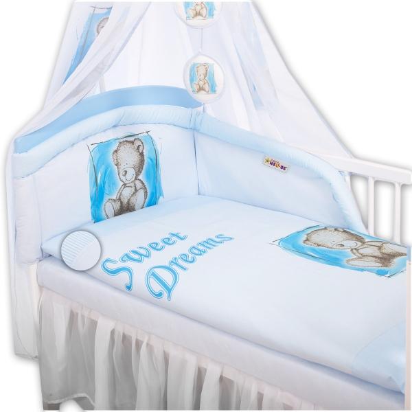 Baby Nellys Mantinel s povlečením Sweet Dreams by Teddy - modrý