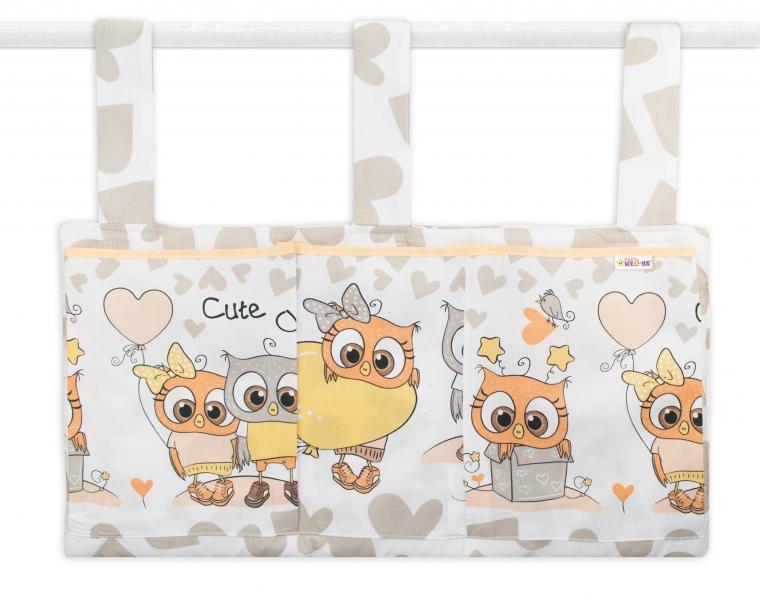 Kapsář na postýlku 3 kapsy - Cute Owls - béžový