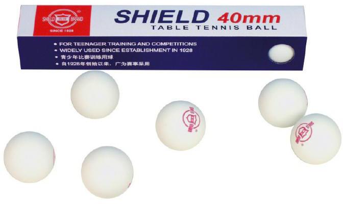 SHIELS Míčky na stolní tenis bílé set 6ks 4cm ping pong v krabičce