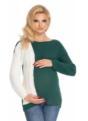Be MaaMaa Těhotenský svetr, pletený vzor - zelená/bílá - UNI