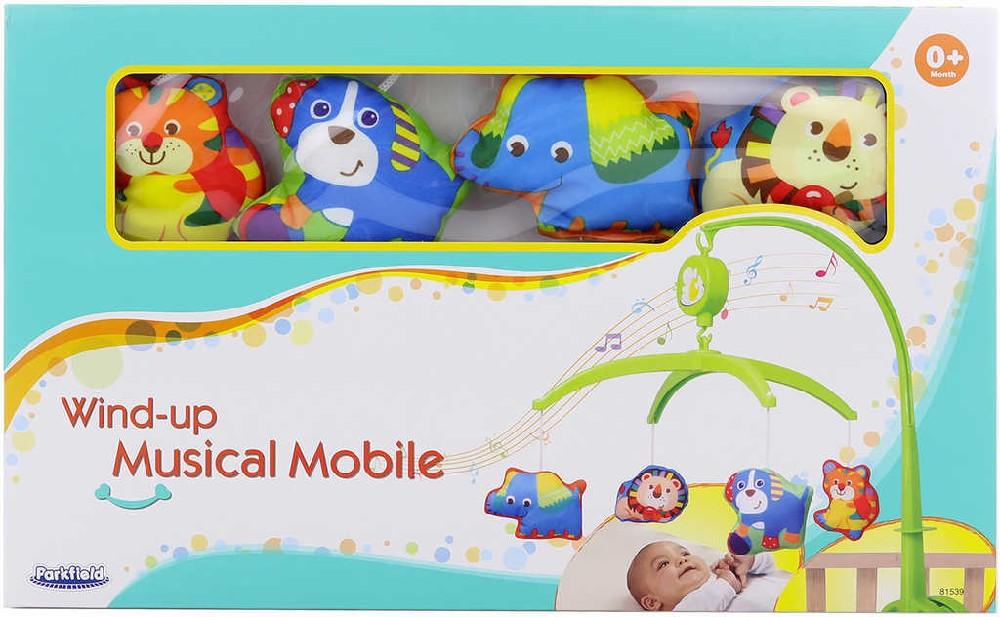 Baby kolotoč hudební zvířátka na natažení s melodií pro miminko Zvuk