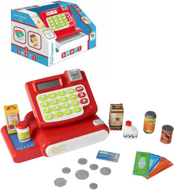 Pokladna dětská Smart na baterie set registrační kasa s potravinami a penězi