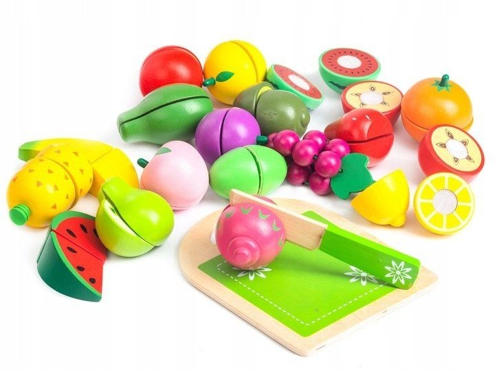 Dřevěné ovoce v kyblíku ECO TOYS - 20 kusů