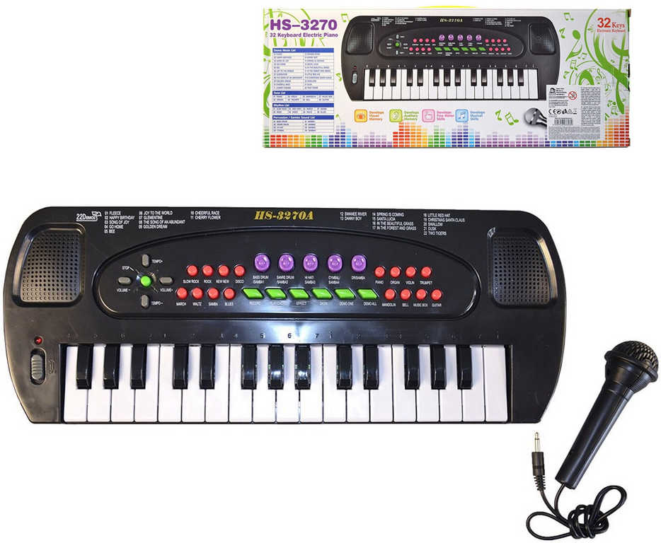 Piáno 32 kláves dětské elektronické klávesy 43cm keyboard na baterie Zvuk