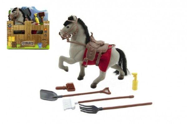 Kůň s doplňky šedý fliška 15cm v krabičce 16x17x6cm