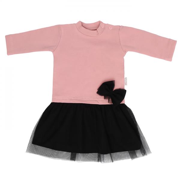 Mamatti Dětské šaty s černým týlem Mašle - pudrové, vel. 98 - 98 (24-36m)